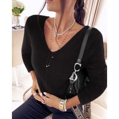 Γυναικεία χνουδωτή μπλούζα 5342 μαύρη