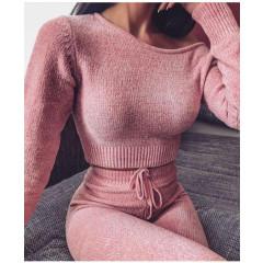 Γυναικείο σετ μπλούζα και φόρμα 2297 ροζ