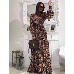Γυναικείο μακρύ φόρεμα με φουσκωτό μανίκι 2415