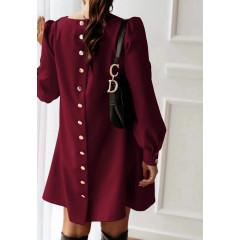Γυναικείο φόρεμα με κουμπιά πίσω 3923 μπορντό