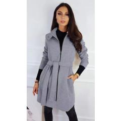 Γυναικείο παλτό με φερμουάρ και ζώνη 3829 γκρι