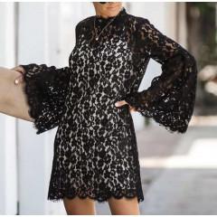 Γυναικείο φόρεμα δαντέλας 5252 μαύρο