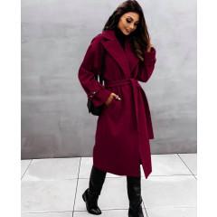 Παλτό με φόδρα και ζώνη 5406 μπορντό