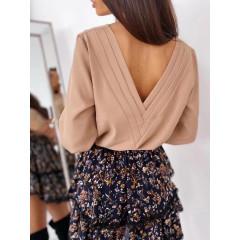 Γυναικεία μπλούζα με ανοιχτή πλάτη 3856 μπεζ