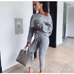 Дамски комплект блуза и клин 7168 сив