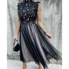 Γυναικείο φόρεμα με τούλι 3160 μπεζ