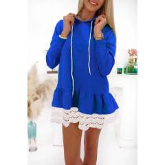 Γυναικείο μπλουζοφόρεμα με δαντέλα 19899 μπλε