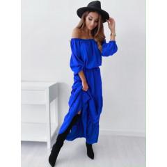 Γυναικείο μακρύ φόρεμα έξωμο 26162 μπλε