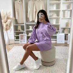 Γυναικείο μπλουζοφόρεμα με κουκούλα 3601 μωβ