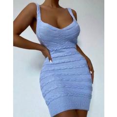 Γυναικείο πλεκτό φόρεμα 4582 γαλάζιο