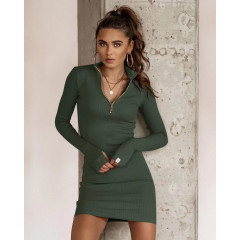 Γυναικείο εφαρμοστό φόρεμα με φερμουάρ 5506 σκούρο πράσινο
