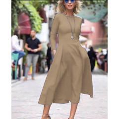 Γυναικείο κομψό φόρεμα 1723 μπεζ