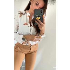 Γυναικείο πουκάμισο με print 3227 άσπρο