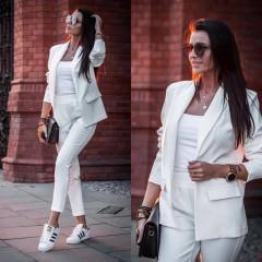 Γυναικείο σετ σακάκι και παντελόνι 3970 άσπρο