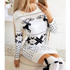 Γυναικείο χριστουγεννιάτικο φόρεμα βελουτέ 9687 άσπρο