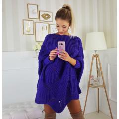Γυναικείο πλεκτό μπλουζοφόρεμα 150976 μπλε