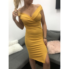 Γυναικείο φόρεμα 09236 μουσταρδί