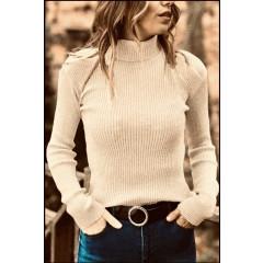Γυναικεία μπλούζα ζιβάγκο 81026 σκούρο μπεζ