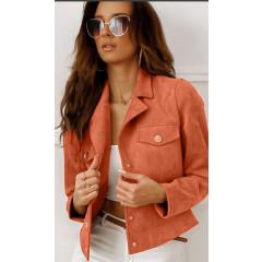 Γυναικείο μπουφάν βελουτέ 20800 πορτοκαλί