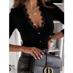 Γυναικεία μπλούζα με δαντέλα 4194 μαύρη