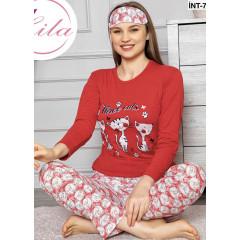 Γυναικεία πιτζάμα από 3 τμχ.GINT 95 κόκκινη