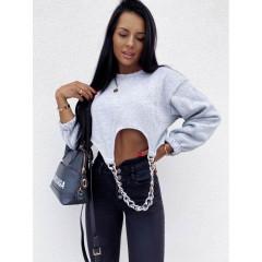 Γυναικεία μπλούζα με αλυσίδα 2707 γκρι