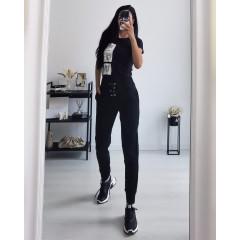Γυναικείο αθλητικό ψηλόμεσο παντελόνι 4428 μαύρο