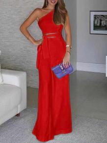 Γυναικεία ολόσωμη φόρμα με έναν ώμο 5042 κόκκινο