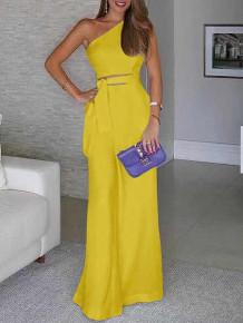 Γυναικεία ολόσωμη φόρμα με έναν ώμο 5042 κίτρινο