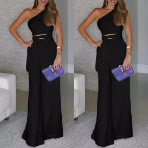Γυναικεία ολόσωμη φόρμα με έναν ώμο 5042 μαύρη