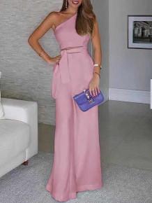 Γυναικεία ολόσωμη φόρμα με έναν ώμο 5042 ροζ