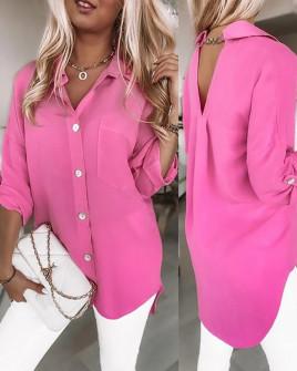 Γυναικείο χαλαρό πουκάμισο 5874 φούξια