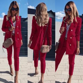 Γυναικείο σετ σακάκι και παντελόνι 3775 μπορντό