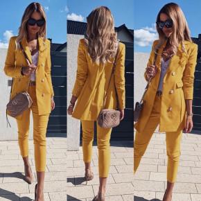 Γυναικείο σετ σακάκι και παντελόνι 3775 μουσταρδί