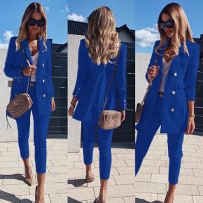 Γυναικείο σετ σακάκι και παντελόνι 3775 μπλε