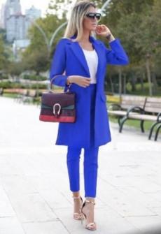 Γυναικείο σετ σακάκι και παντελόνι 3311 μπλέ