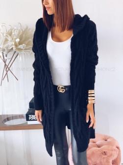 Γυναικεία πλεκτή ζακέτα με κουκούλα 7182 μαύρη