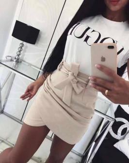 Γυναικεία σουέτ φούστα με ζώνη 3338 μπεζ