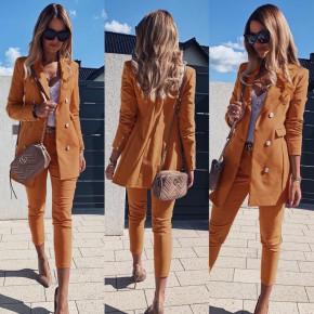 Γυναικείο σετ σακάκι και παντελόνι 3775 καμηλό