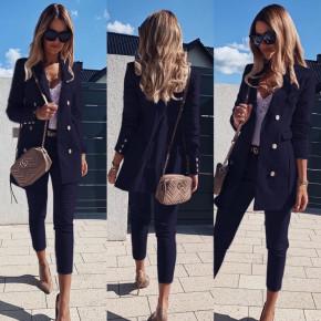 Γυναικείο σετ σακάκι και παντελόνι 3775 σκούρο μπλε