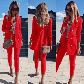 Γυναικείο σετ σακάκι και παντελόνι 3775 κόκκινο