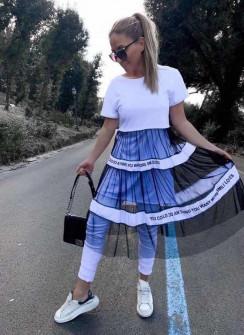 Γυναικείο μπλουζοφόρεμα με τούλι 3271 άσπρο