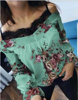 Γυναικεία μπλούζα με δαντέλα 3976 μέντα