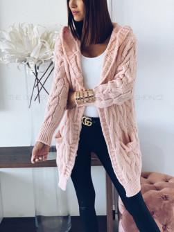 Γυναικεία πλεκτή ζακέτα με κουκούλα 7182 ροζ
