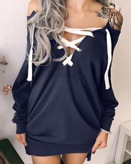 Γυναικείο μπλουζοφόρεμα με κορδόνια 33701 σκούρο μπλε