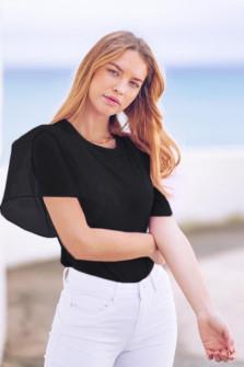 Γυναικεία μπλούζα με μανίκι σιφόν 5072 μαύρη