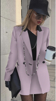 Γυναικείο σετ φούστα και σακάκι 3967 μωβ