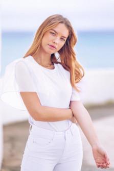 Γυναικεία μπλούζα με μανίκι σιφόν 5072 άσπρη