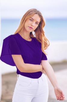 Γυναικεία μπλούζα με μανίκι σιφόν 5072 μωβ