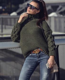 Γυναικείο πουλόβερ 7211 πράσινο σκούρο